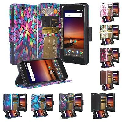 FOR ZTE AVID 557 Consumer Cellular Wallet Credit Card Pouch Cover