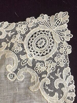 Antique French Brussels Lace Bridal Wedding Handkerchief Gorgeous Heirloom