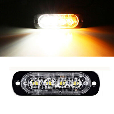 4LED Car Amber Warning Flashing Emergency Safety Recovery Strobe Grille Lights