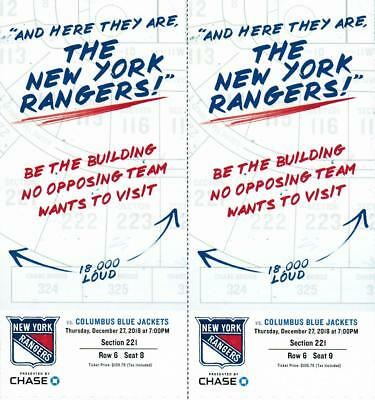 NY Rangers Tickets Thursday, December 27 vs Blue Jackets 7pm Section 221 Row 6