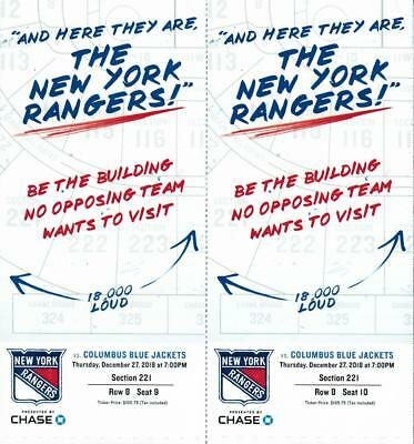 NY Rangers Tickets Thursday, December 27 vs Blue Jackets 7pm Section 221 Row 8