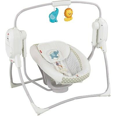Fisher-Price Space Saver Baby Cradle & Swing, White sooth & Portable