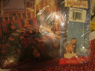 Vintage 1990s Disney Pocahontas & Mico Twin Fitted Sheet & Pillowcase Set NEW!