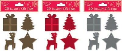 20 Luxury Gift Tags 3 Colours Glitter Shiny Wrapping Christmas Tree Star Present