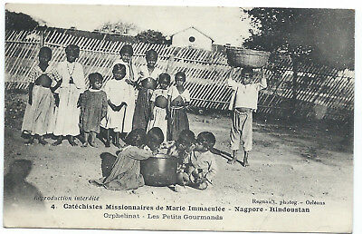INDIA -1920s - NAGPORE - Orphanage - Orphans at lunch - very good condition