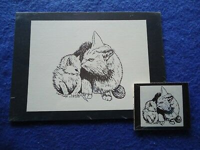 White Mother Cat and Kitten Small Print on 5x7 Black Mat and Magnet New
