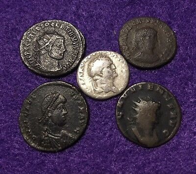 Lot Of 5 Ancient Roman Coins: Silver Denarius Of Vespasian+4 Larger Coins~VF-XF