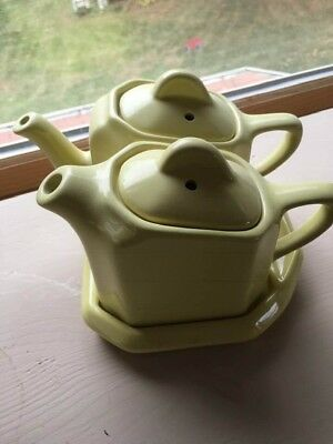 Hall china. Mid Century Twin Tee Teapot Set with tray rare butter Yellow