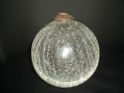 Vintage Very Large Crackle Glass Xmas Decoration - 13 cm diameter - lovely
