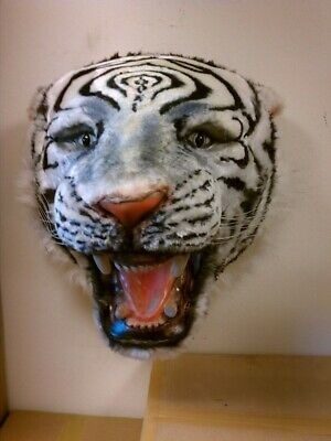 Tiger Head White Wall Mount Display Resin Prop Decor Statue Mouth Open Siberian