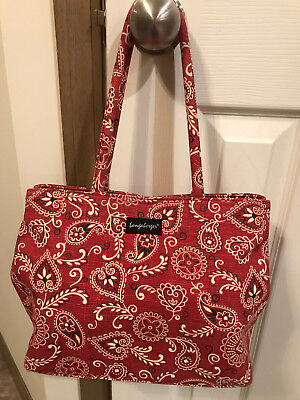 Vintage Red&White Paisley Longaberger Purse W/Matching Cell Phone Case NWOT