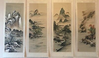 Four Hand Painted Japanese Chinese Silk Paintings Seasons Antique 1950's Large