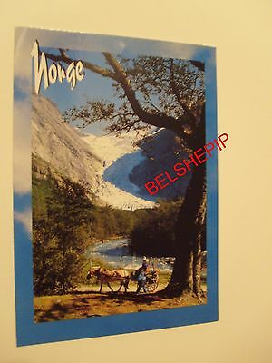 Norge (Norway), Postcard. Horse, Mountain