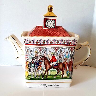 Sadler Championships Teapot A Day At The Races Red Roof Made In England Tea