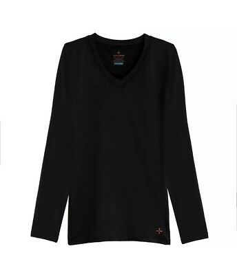 Tommie Copper Small Women's Recovery Long Sleeve V-Neck Black