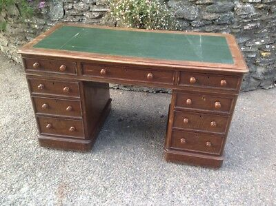 Late Victorian Solid Oak Pedestal Desk with 9 Drawers &  hidden casters