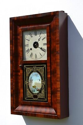 Antique American Waterbury  wall clock from 1860 s