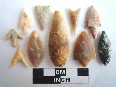 Neolithic Arrowheads x 10, High Quality Selection of Styles - 4000BC - (2123)