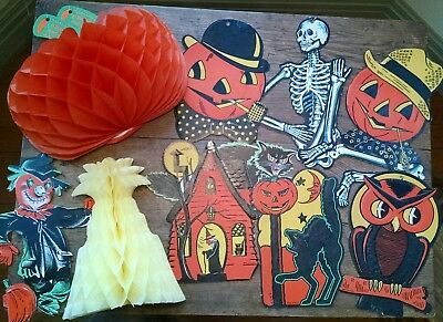 17 Vintage Halloween Cardboard Cutout Decorations Black Cat, Witch, Skeleton