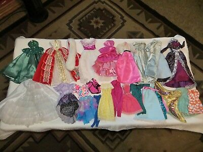 """Barbie Doll & 12"""" Doll Clothes~25 Piece Lot~Holiday Gowns~Fur Wrap~Mermaid Fins"""