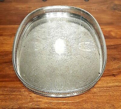 Large Vintage Chased Gallery Silver Plated Tray Platter Serving Dish