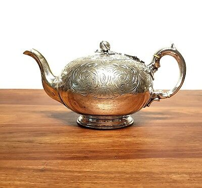 Antique VICTORIAN SILVER PLATED CHASED COFFEE TEA TEAPOT