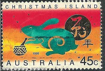 1999 Christmas Island Lunar Year - Year of the Rabbit 45c Rabbit Used