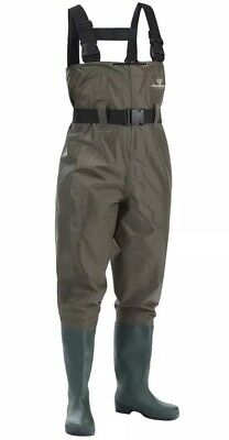 Fishingsir Size 7 40 Cleated Bootfoot Chest Fishing Waders In Green NWT