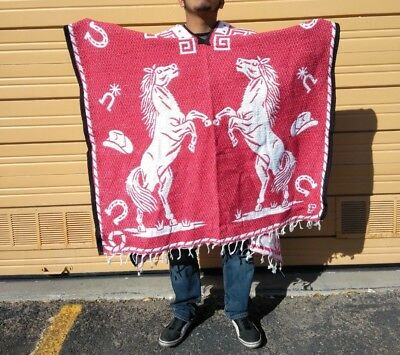 Mexican Poncho , Horse , Blanket Sarape Gaban ,One Size Fits All ,Red