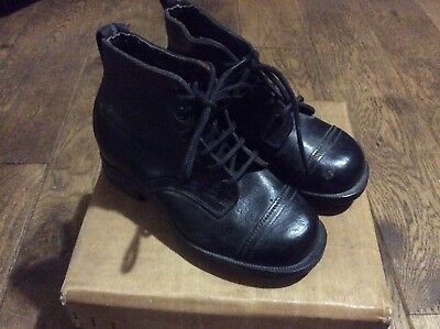 Original 1940s ww11 cc41 era leather hob nail boots boys shop display