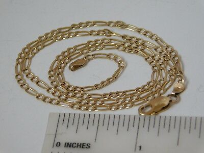 14K Solid Yellow Gold Chain Necklace ~ Figaro link ~ 4.6 Grams ~ Lobster clasp