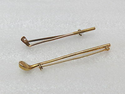 2 Vintage Golf Club Pins, 10KRGP and 9K Gold with Pearl