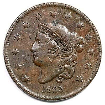 1835 N-2 R-3 Small 8 & Stars Matron or Coronet Head Large Cent Coin 1c