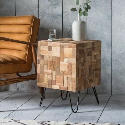 Industrial Style Side Table Vintage Retro Furniture Small Square End Mosaic Teak