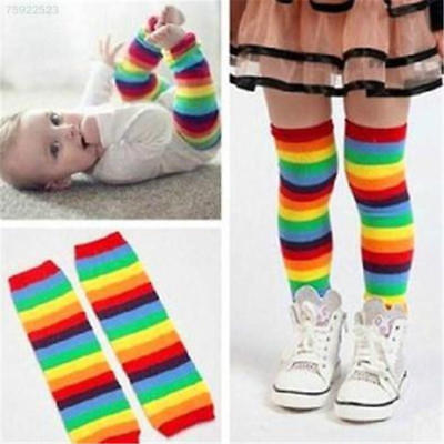 2CAE 4846 Baby Girl Winter Leg Warmer Tights Cotton Sunny Rainbow Stripes Socks