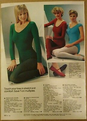 VTG 80'S PAPER AD leotard tights hosiery hip-huggers panties lingerie underwear
