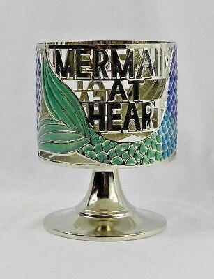 New Bath And Body Works Mermaid at Heart Candle Holder Sleeve Blue Green Silver