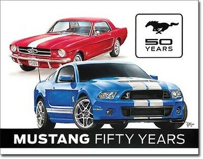 Ford Mustang 50 Years Stang Retro Garage Muscle Pony Car  Wall Decor Metal Sign