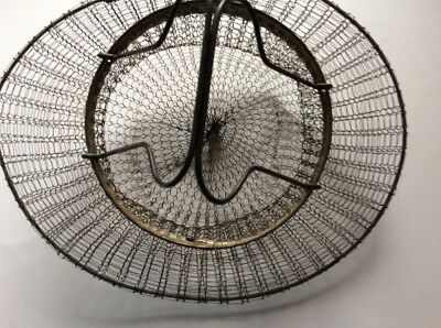 Vintage Antique French Country Woven Wire Collapsible Hanging Egg Basket 10""