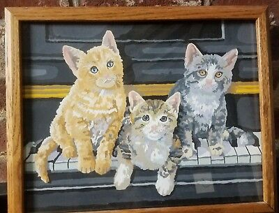 RARE Vintage Paint by Number PBN Kittens on Piano Cats Keys Framed Under Glass