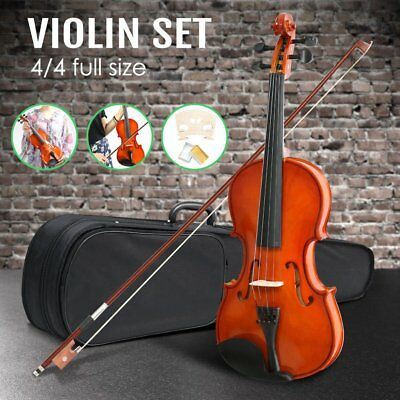 Full Size 4/4 Natural Acoustic Wooden Violin Beginners/Practice Violin Set QW