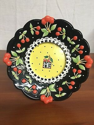 Excellent Condition RARE Mary Engelbreit Ceramic Picture Frame- Cherry Plate