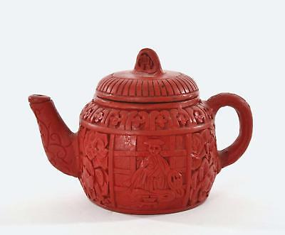 Vintage Chinese Cinnabar Lacquer Carved Carving Figure Flower Teapot Tea Kettle