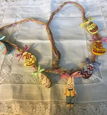 Hand Crafted Tole Painted Easter Necklace Egg Chick Bunny J-40
