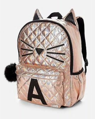 Justice Girls Quilted Cat Initial E Backpack Gold Black New with tags