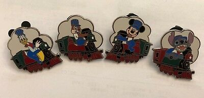 lot of 4 disney trading pins limited release train cars stitch dale mickey donal