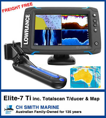 Lowrance Elite7Ti Navionics+ Aust Map & TotalScan T/ducer from CH Smith Marine
