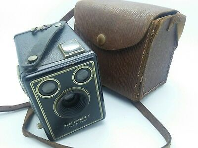 Vintage Kodak SIX-20 Brownie MODEL C Box Camera w/Leather Case