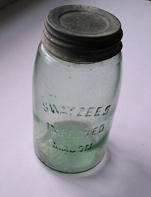 Vintage Green SWAYZEE'S IMPROVED MASON JAR, #24, original metal lid