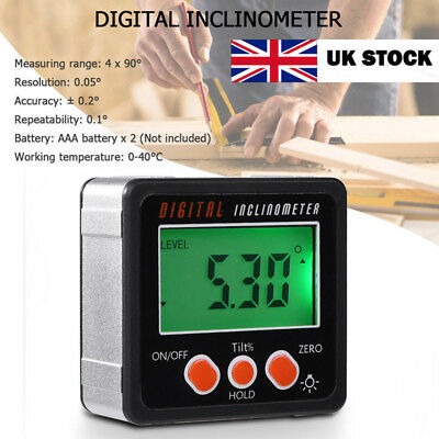 360° Magnetic Digital Inclinometer Level Gauge Angle Meter Finder Protractor UK